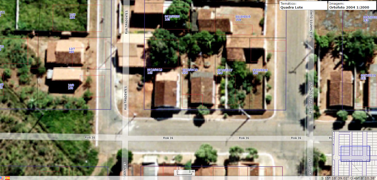 Imagem de satélite do ano 2004, retirada do sistema de geoprocessamento da cidade de Goianésia em 14/09/2020 às 05:06hs  - http://geo.goianesia.go.gov.br/geo_goianesia/index3.php