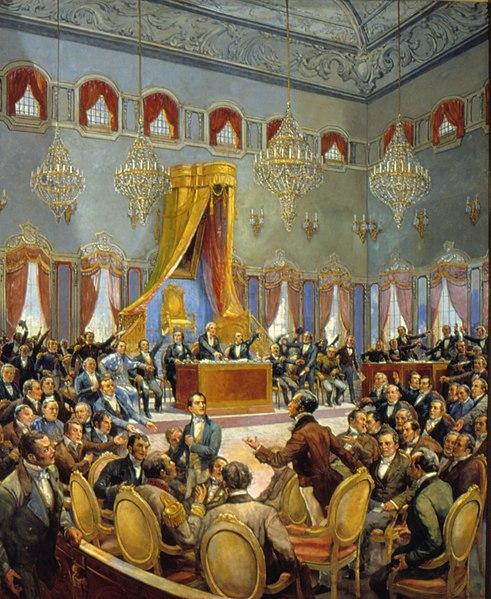 Corte Portuguesa retratada em 1822. (Fonte: WikimediaCommons/Reprodução)