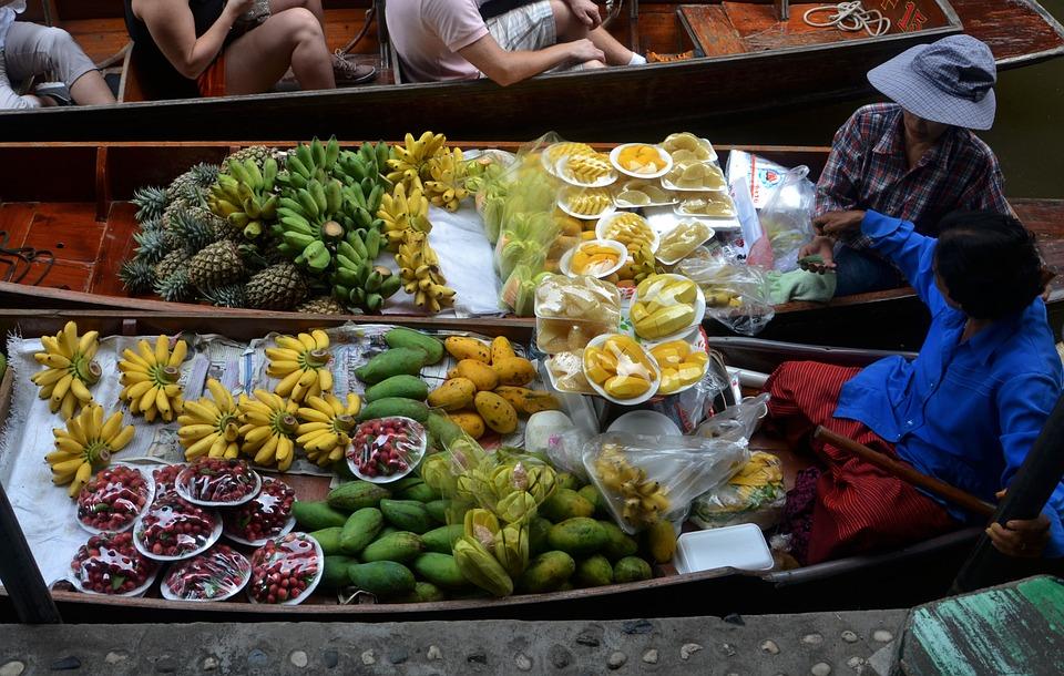Floating food market in Bangkok