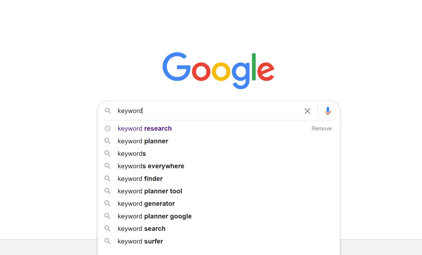 Nyckelordssökning med Google-suggestion