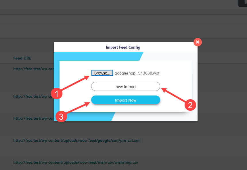 how to import feed step 2