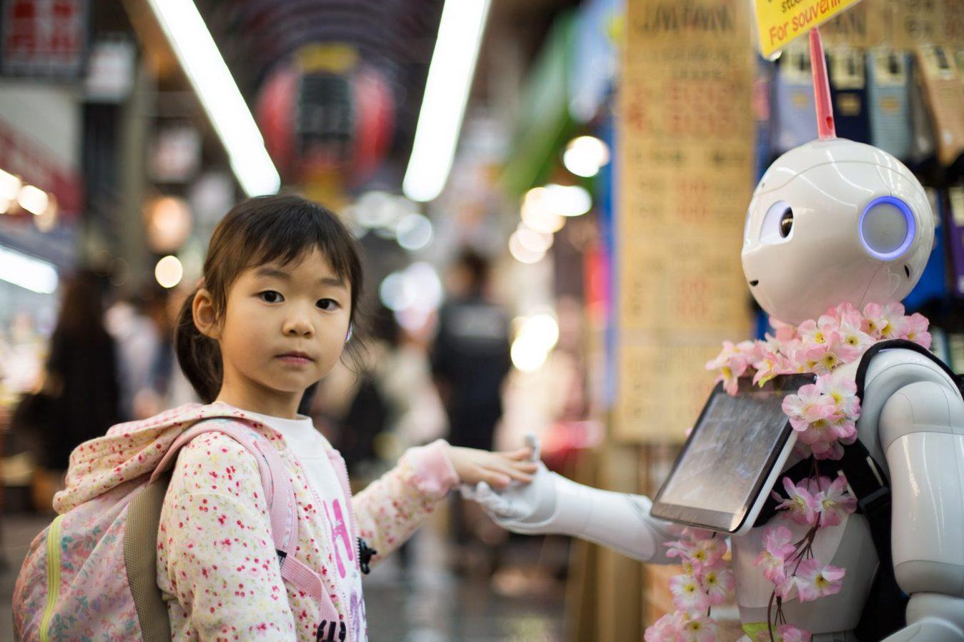 A girl with a robot