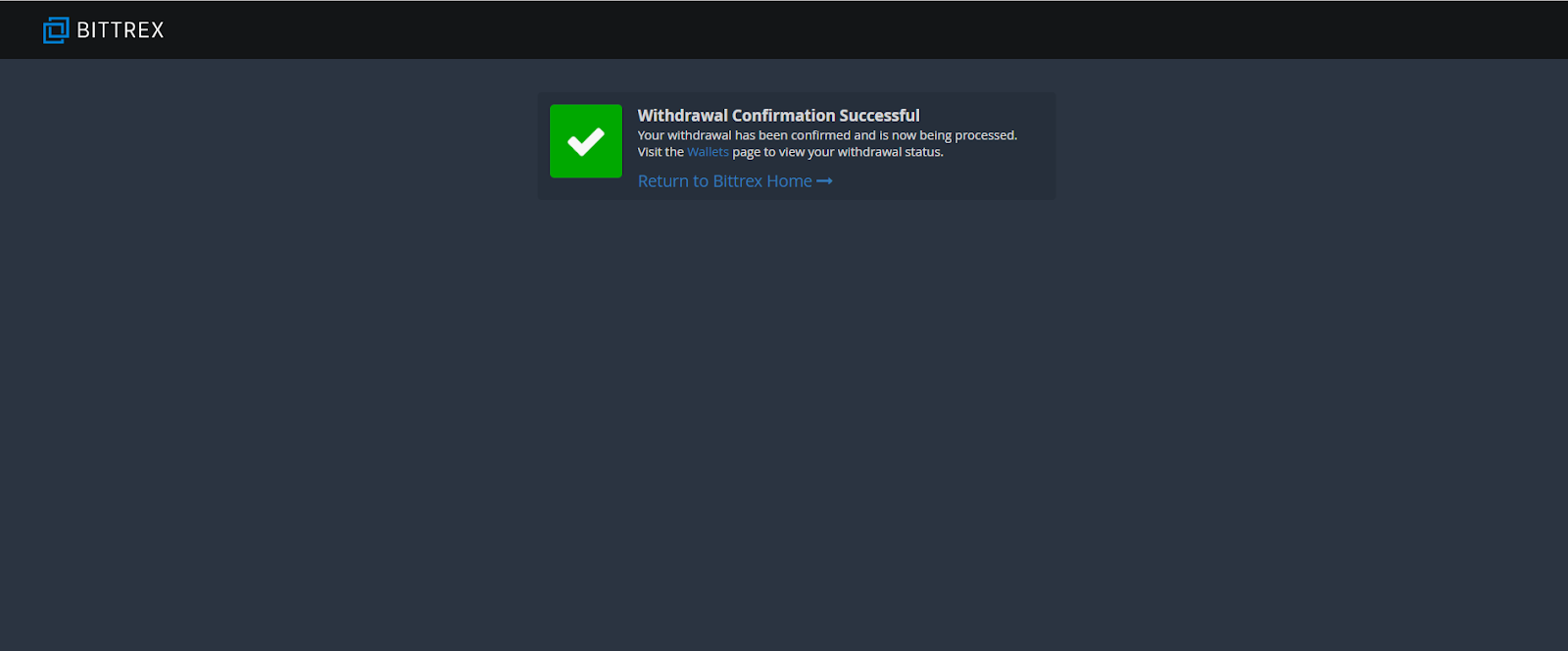 Bittrex withdrawal confirmation screen shot.