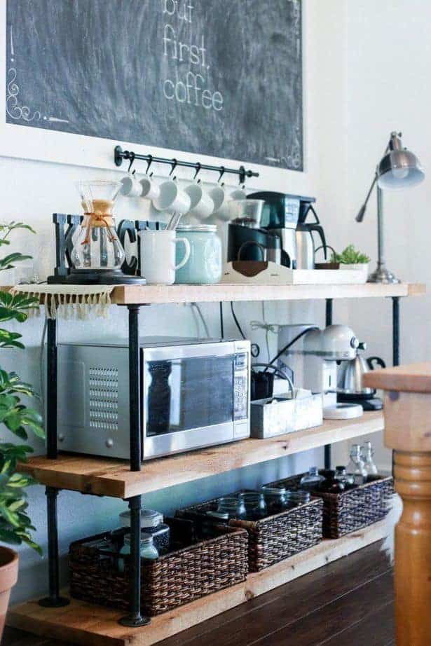 Coffee Bar for a Kitchen with Industrial Tiers