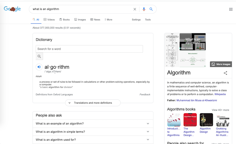 """Screenshot of the search engine results page on Google for the search query """"what is an algorithm"""""""