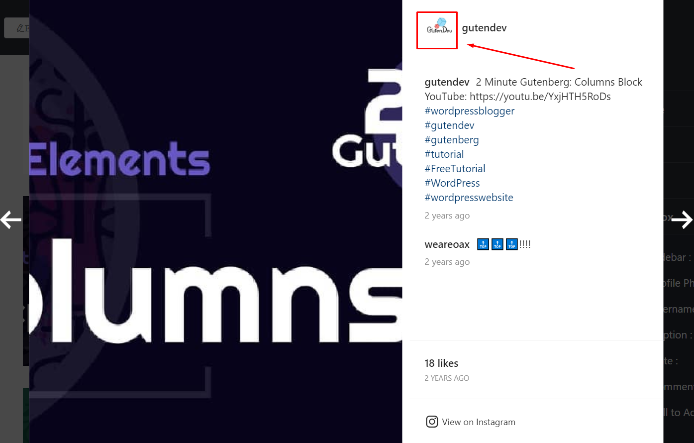 Instagram settings display profile photo