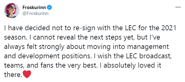 Твит от Froskurinn о не продлении контракта