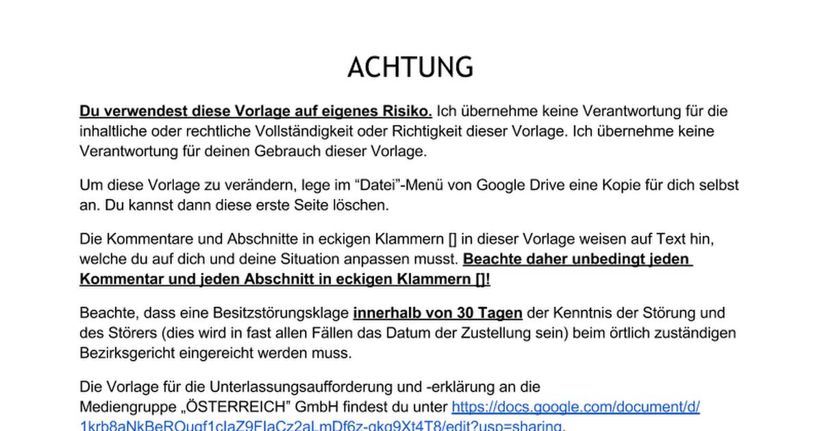 Vorlage Unterlassungsaufforderung und -erklärung Österreichische ...