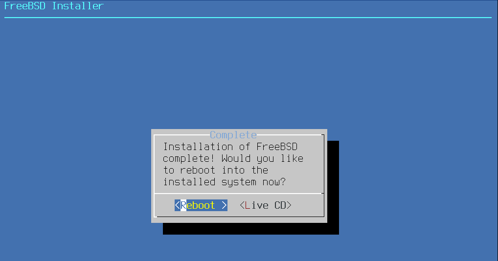 FreeBSD Installer - System Reboot. Source: nudesystems.com