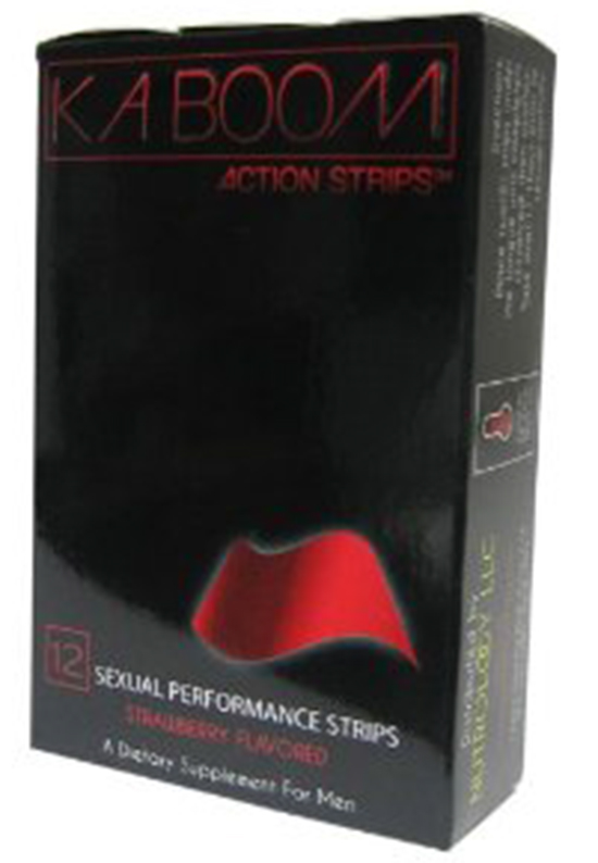 Product front label, Kaboom Action Strips