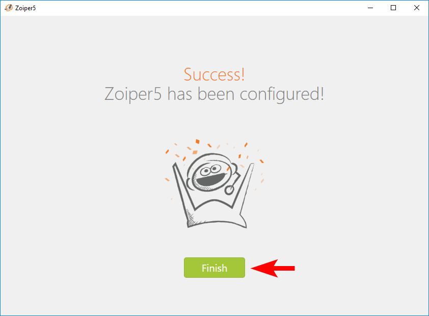Zoiper authorization completion interface