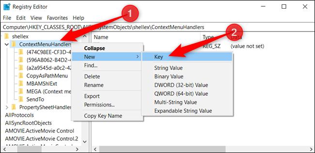 """Haga clic derecho en """"ContextMenuHandlers"""", haga clic en """"Nuevo"""" y luego haga clic en """"Clave""""."""