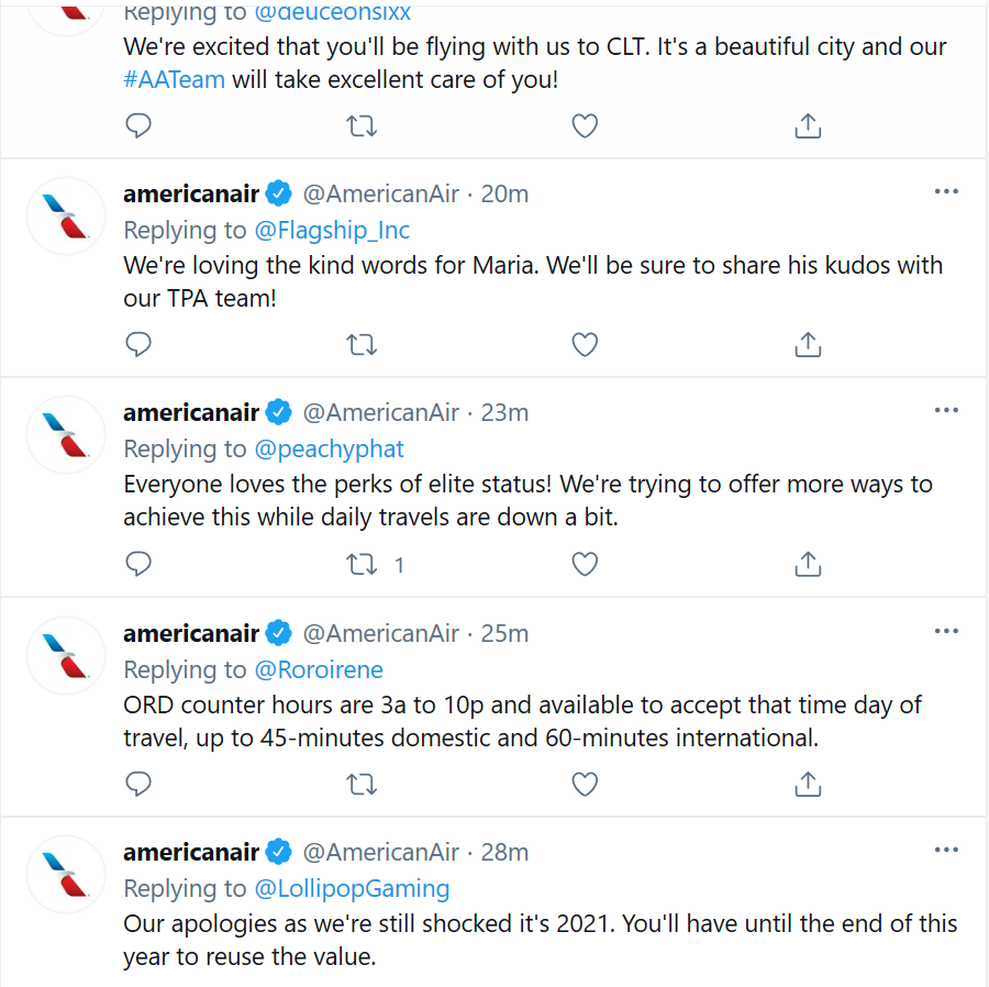 americanair replying to customer queries on twitter