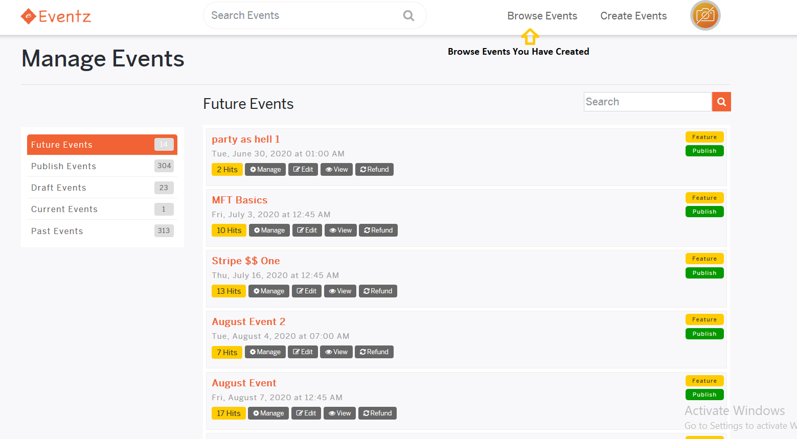 Manage Events Section
