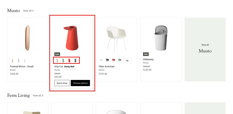 商品一覧ページでは、商品にカーソルを合わせると「カート追加」や「購入ボタン」が表示され、ページを遷移せずにその場で操作することができます。またカラーバリエーションがある商品の場合、カーソル移動で他のカラーに切り替えることができます。
