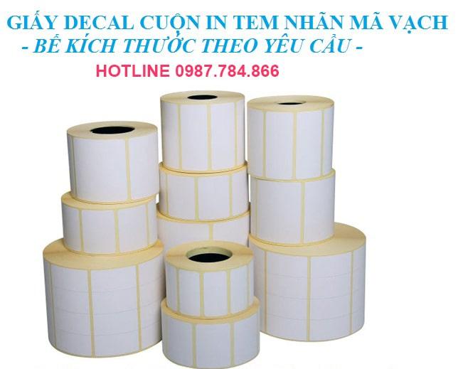 Kích thước giấy decal in mã vạch đặt theo yêu cầu của khách hàng