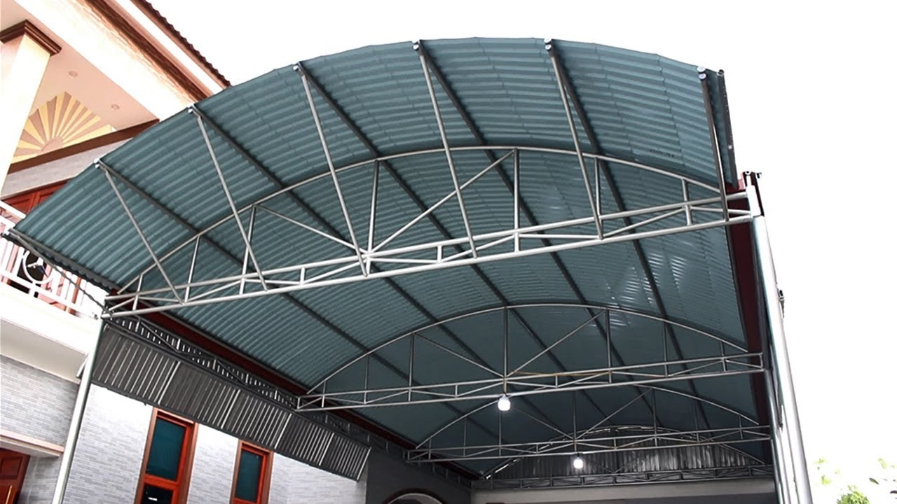 Mái tôn vòm dập cho nhà để xe