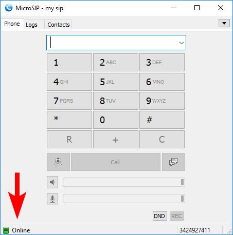 Статус подключения MicroSIP