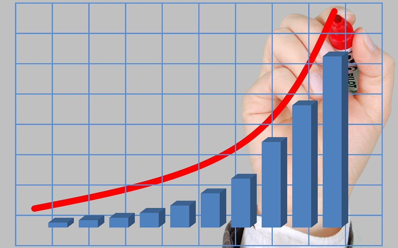 profits chart with growing tendency written by human hand