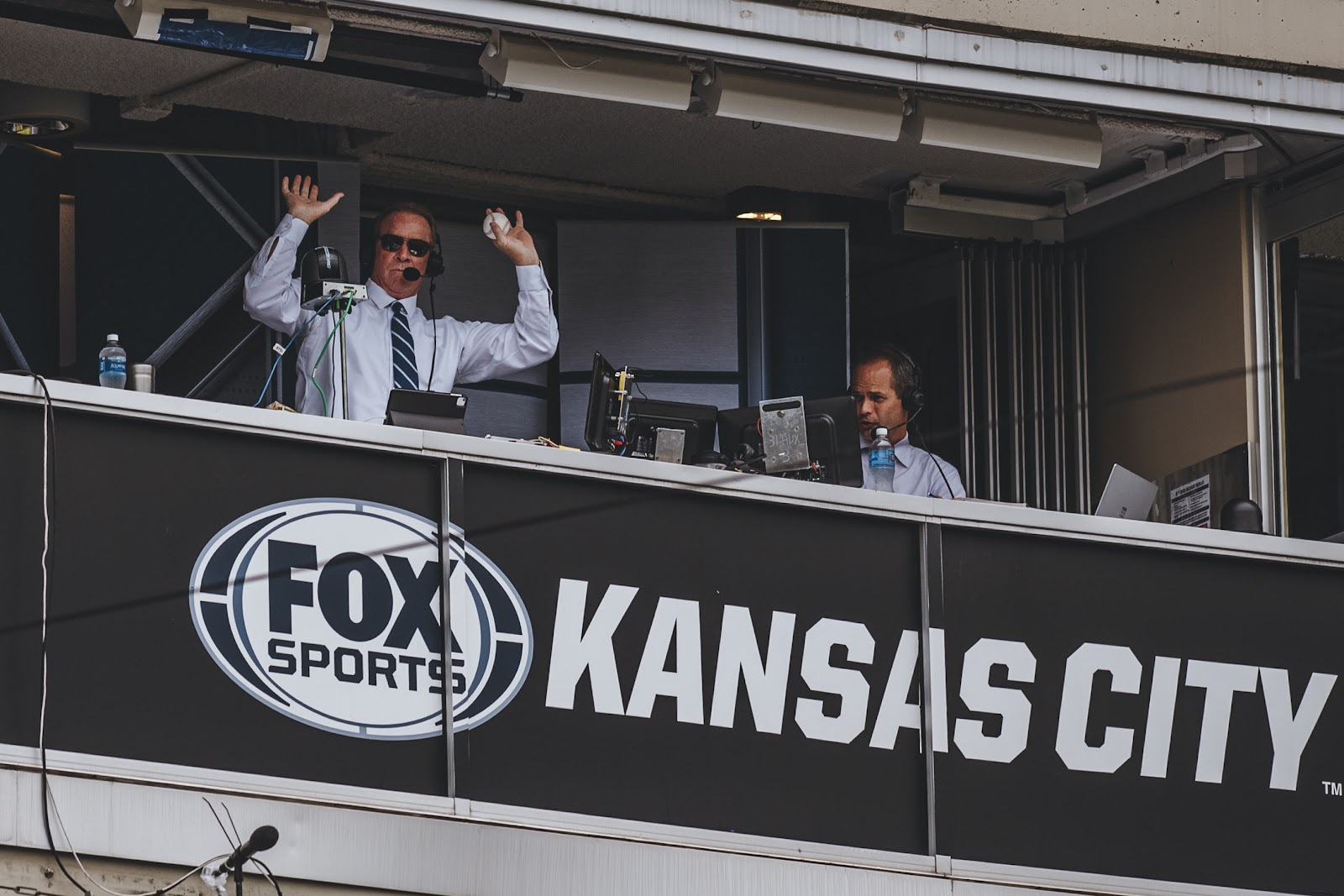 Rex Hudler poses for the camera in the press box.