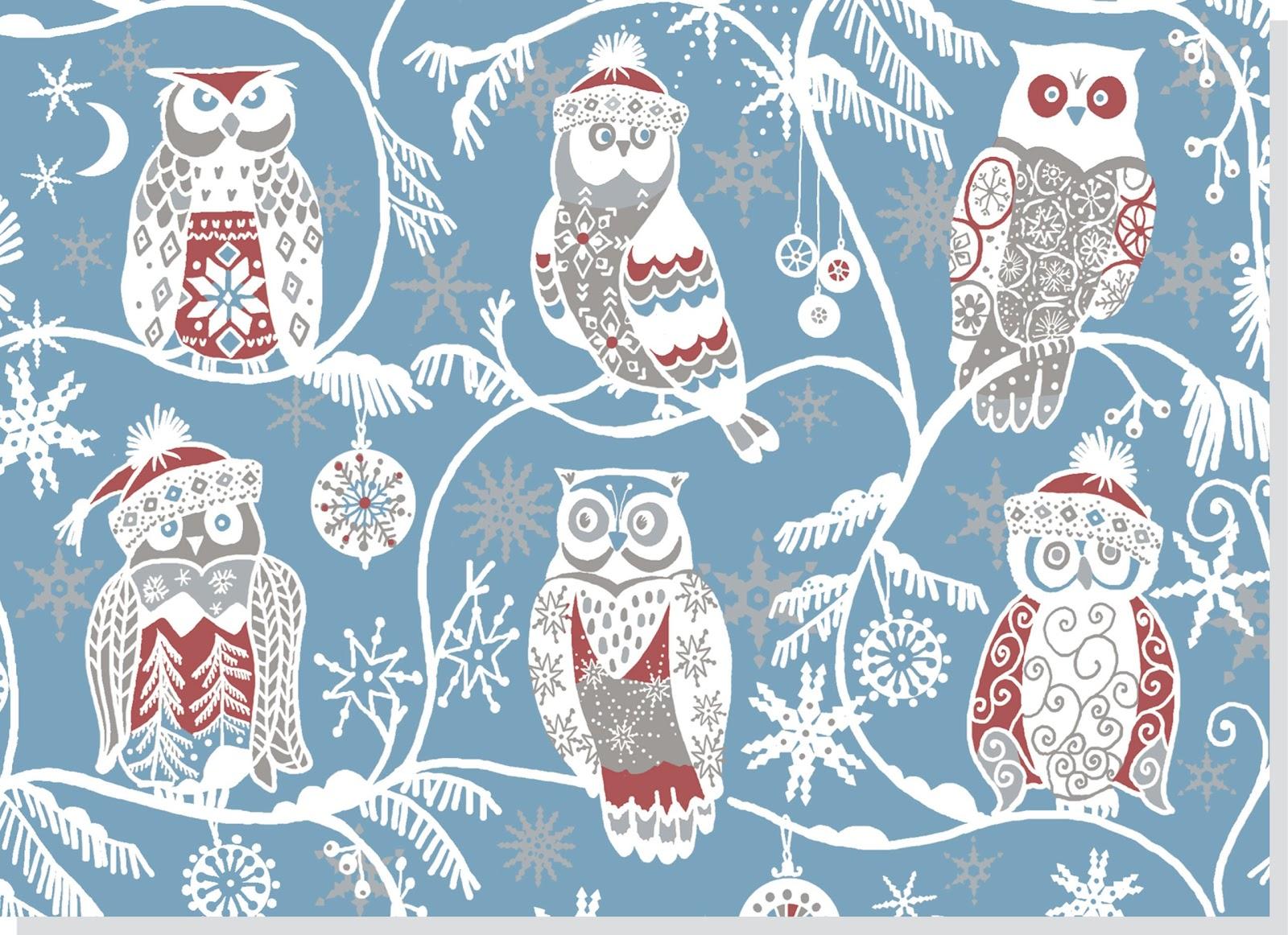 貓頭鷹聖誕卡