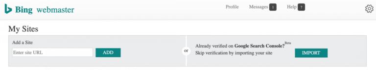 Bing Webmaster Tools permite verificar la propiedad del sitio web usando la de Google Search Console 1