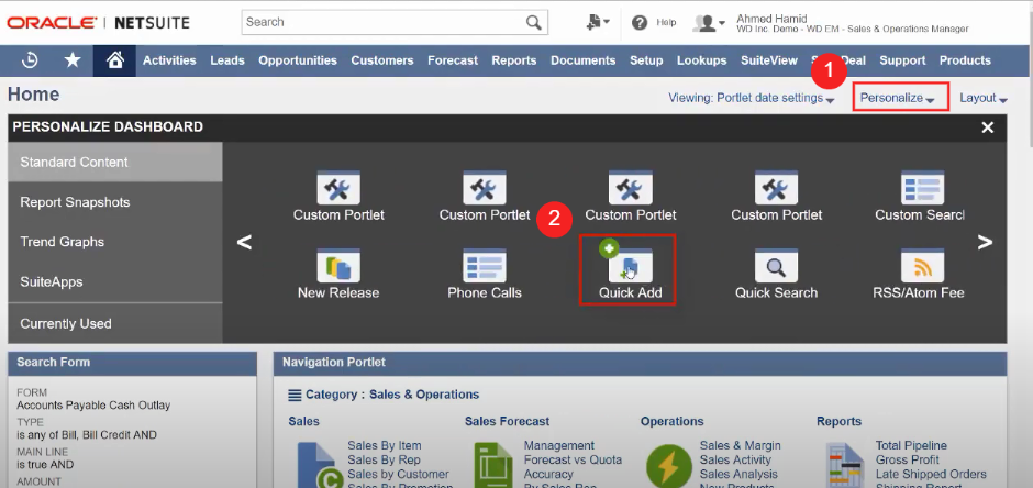 Personalizing NetSuite's quick add portlet from the home dashboard.