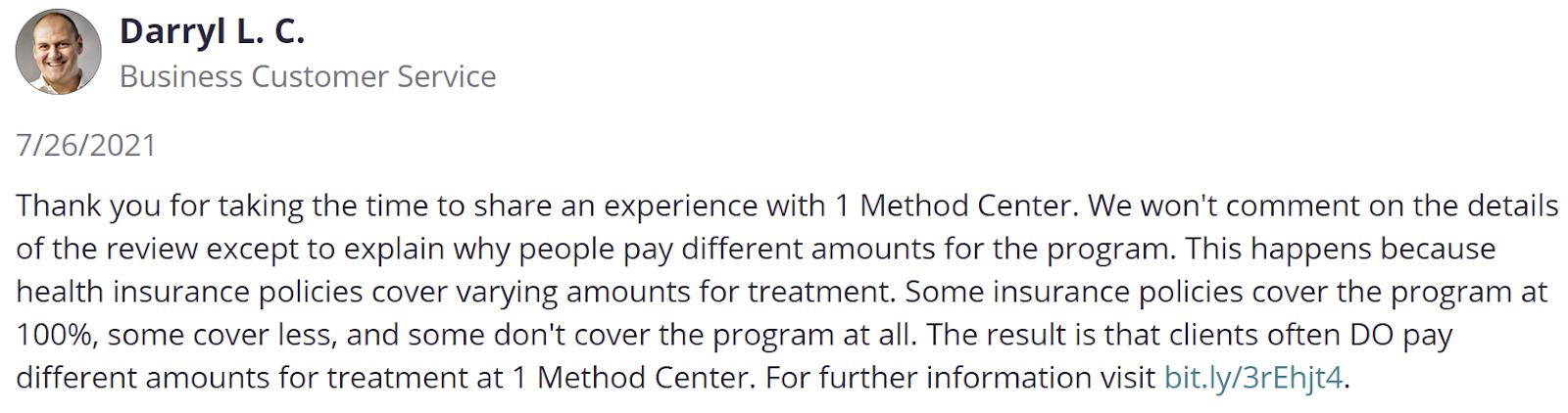 1 Method Center reviews