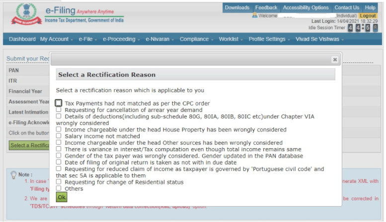 income tax rectification