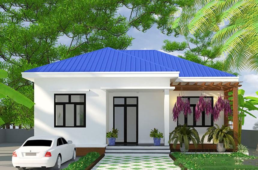 Nhà cấp 4 phong cách truyền thống với mái tôn xanh dương