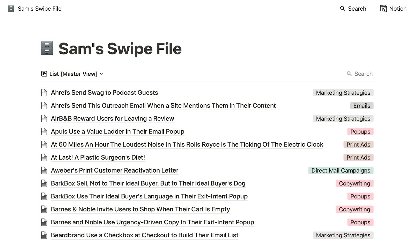 Get Sam's Instant Swipe File | Sam Thomas Davies