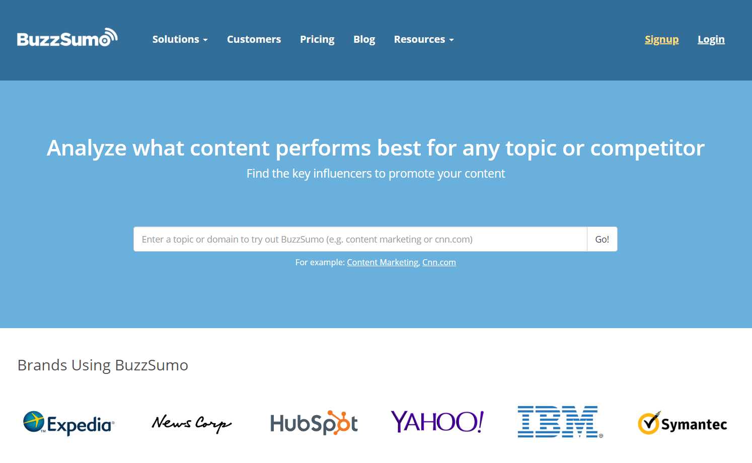 landing page of buzzsumo with features