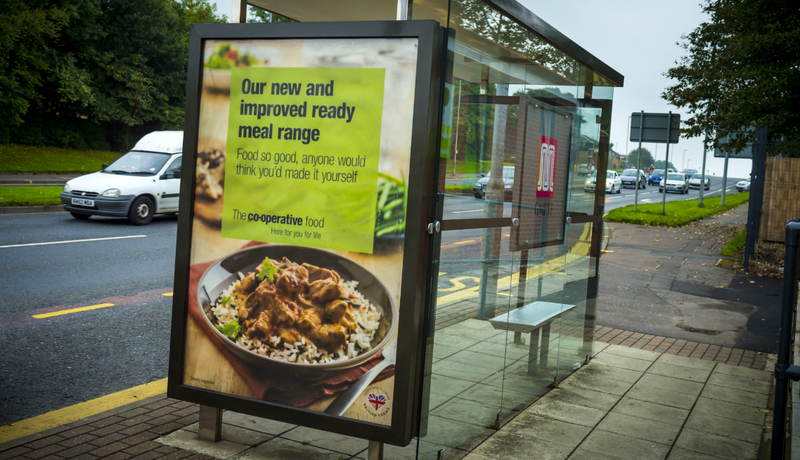 Bus stop outdoor advertising is a great way to reach the commuter audience. Not only do you have the captive audience in the bus stop, but also the traffic going past as seen in this image.