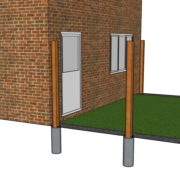 Diagram of fence posts set in post mix