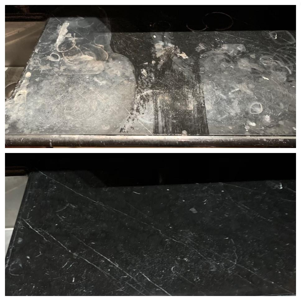 Before and after Hammond Knoll handled a granite bar top damaged by broken glass and alcohol