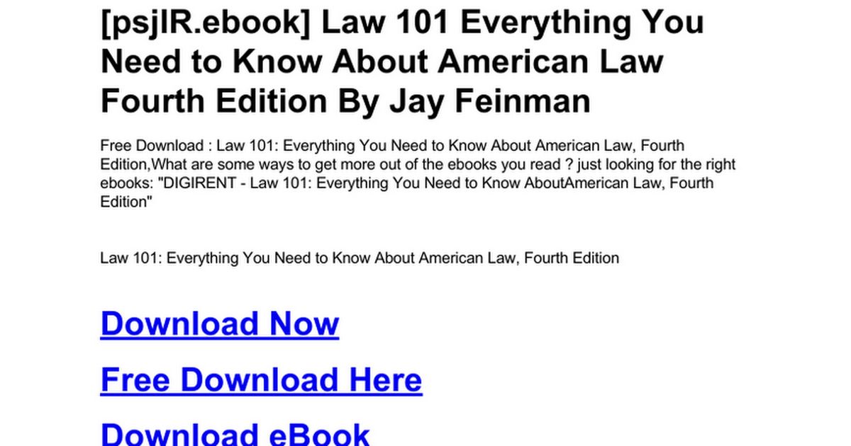 Law 101 Everything You Need To Know About American Law Fourth