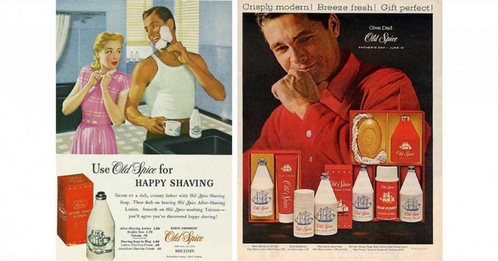 classic old spice ad depicting stereotypes of american male.