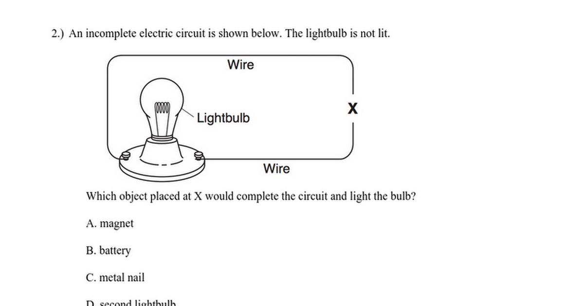 Electricity 10 Question ASSESSMENT
