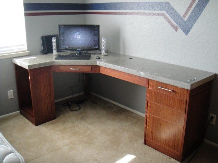Plan de escritorio de hormigón pulido de bricolaje