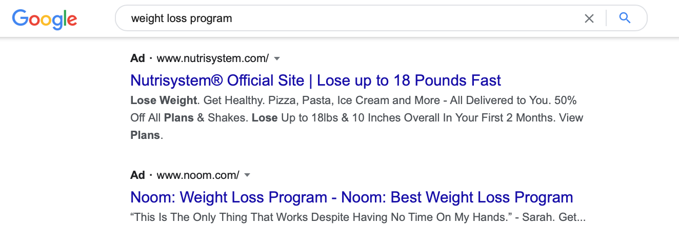 Google Ad showing relevant results