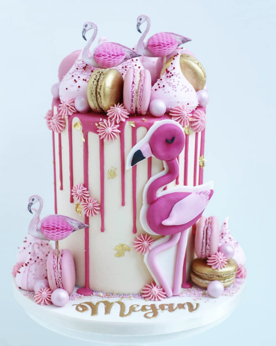 creative flamingo Communion cake