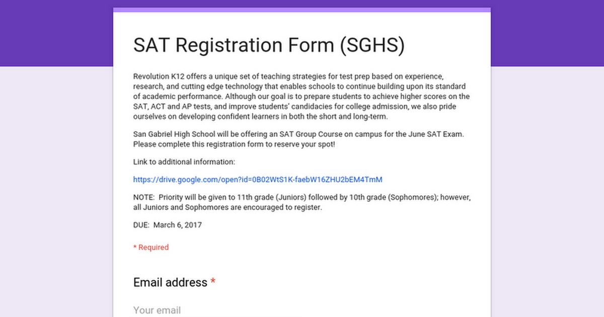 Sat Registration Form Sghs