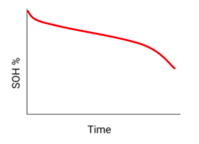A curve of battery state of health over time, expect loss of range over time.