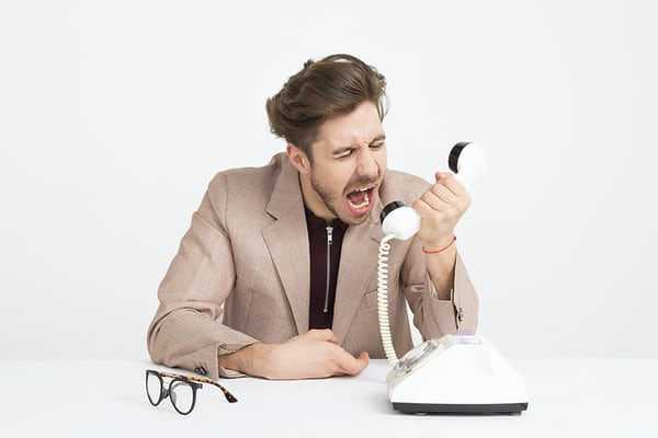 Difficult animation client shouting into phone