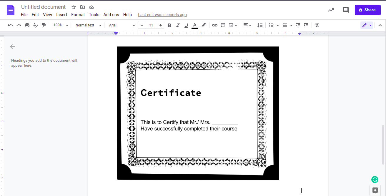 how to add page border in google docs