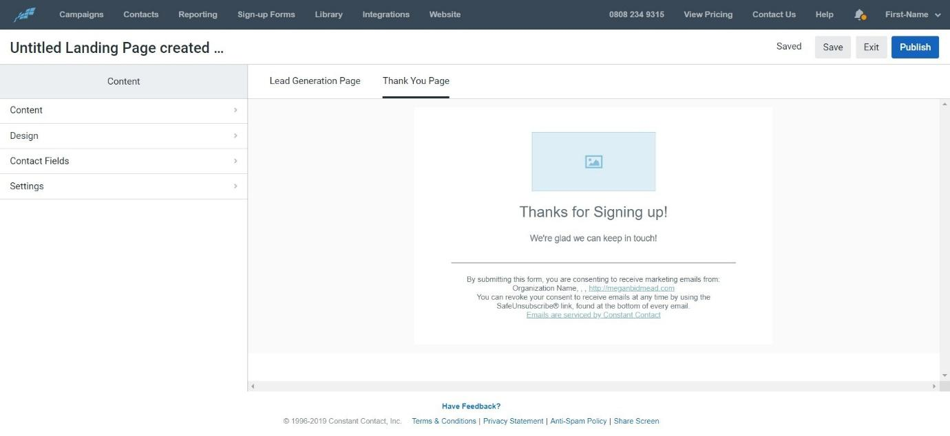 Constant nContact Landing Page