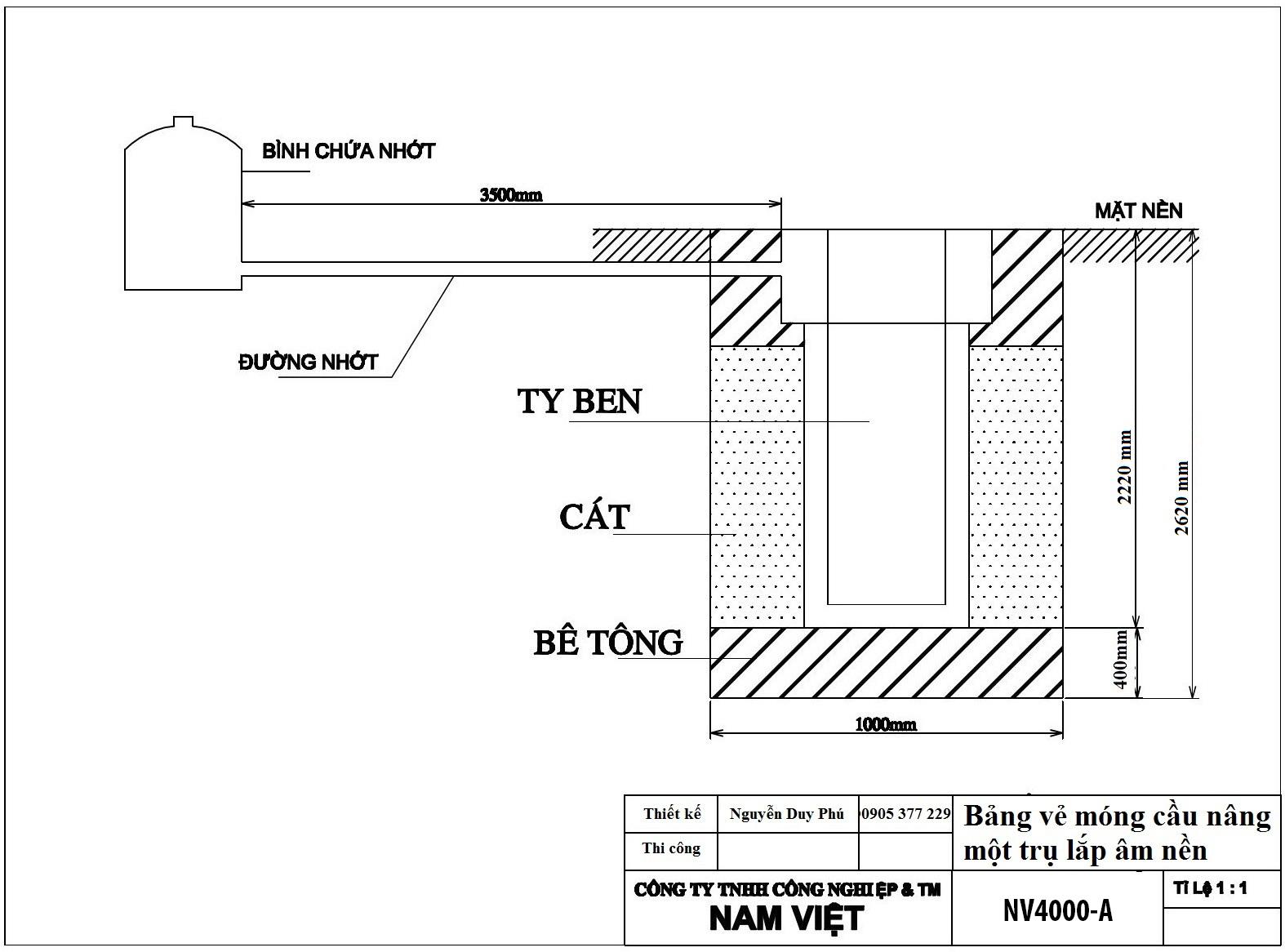 bản vẽ móng cầu nâng 1 trụ NV4000-A