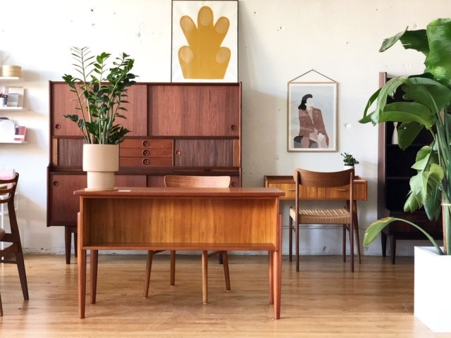 Vintage eco-friendly wooden furniture in and office.