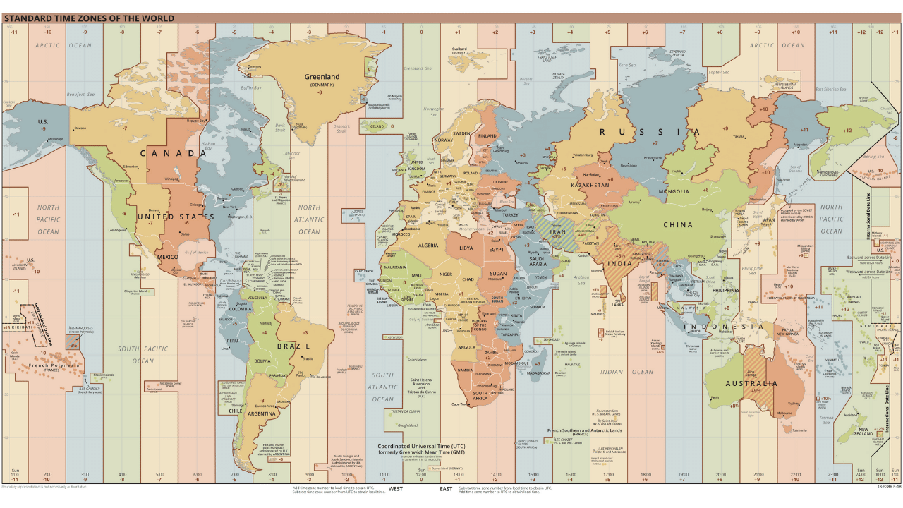 The map of the world, with all the time zones marked out.