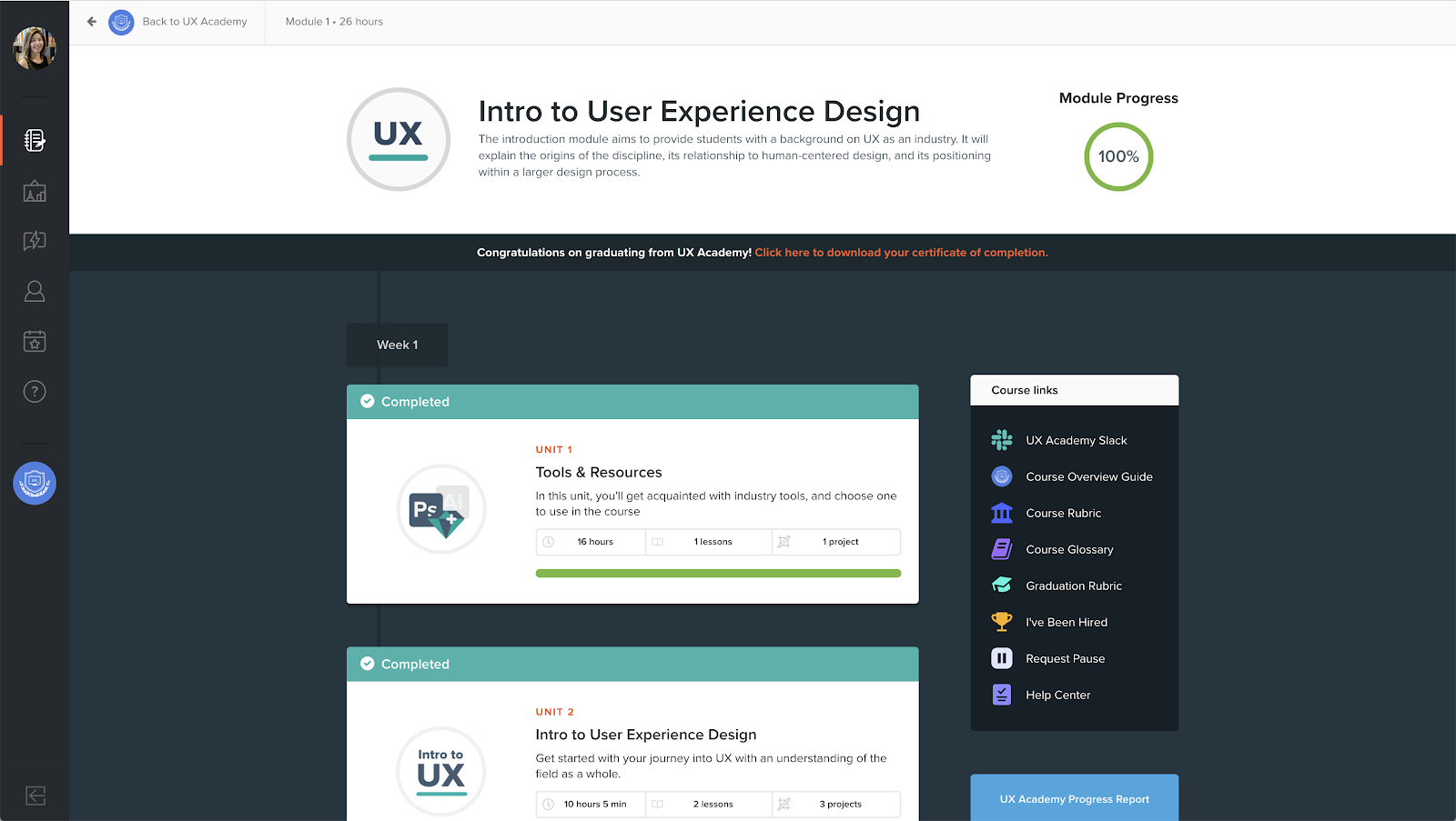 Designlab UX Academy course module overview screenshot